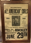 "VINTAGE ""ALL AMERICAN GIRLS"" BASEBALL GAME POSTER - SIGNED BY 5"