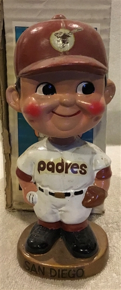 60's SAN DIEGO PADRES GOLD BASE BOBBING HEAD w/BOX