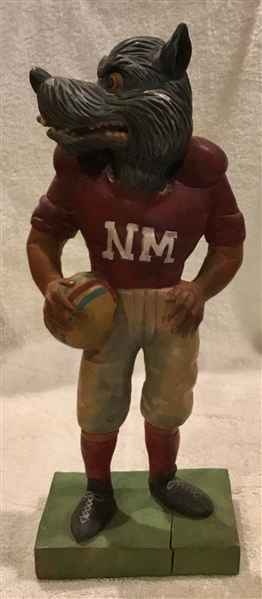 VINTAGE 50's NEW MEXICO LOBOS WOOD CARVED STATUE