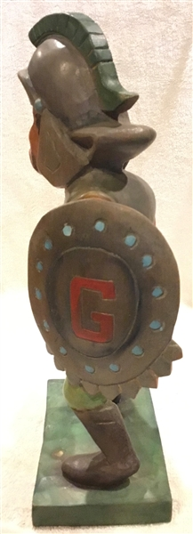 VINTAGE 50's UNC GREENSBORO SPARTANS WOOD CARVED STATUE