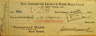 1924 NEW YORK YANKEES CHECK SIGNED BY BARROW & RUPPERT w/JSA COA