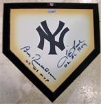 BOBBY RICHARDSON & TOM TRESH SIGNED MINI HOME PLATE w/TRI-STAR