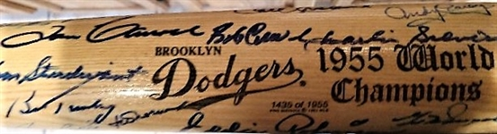1955 BKLYN DODGERS CHAMPIONS BAT SIGNED BY (31) BKLYN DODGERS - PIRATES & NY YANKEES w/JSA LOA
