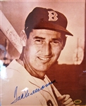 "TED WILLIAMS SIGNED 8"" X 10"" COLOR PHOTO w/CAS LOA"