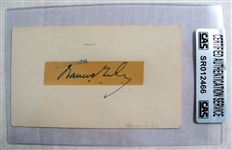 WARREN GILES SIGNED 1955 GOVERMENT POSTCARD - CAS AUTHENTICATED