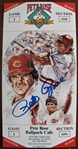 PETE ROSE BALLPARK CAFE INAUGURAL SEASON SIGNED ADVERTISEMENT w/CAS COA