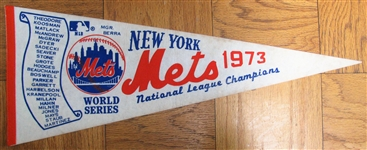 1973 NEW YORK METS WORLD SERIES SCROLL PENNANT