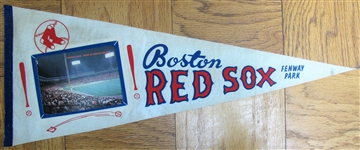 60s BOSTON RED SOX PENNANT w/FENWAY PARK PHOTO