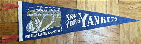 "30s NEW YORK YANKEES ""AMERICAN LEAGUE CHAMPIONS"" PENNANT"