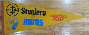 VINTAGE SUPER BOWL XIV PENNANT- STEELERS vs RAMS