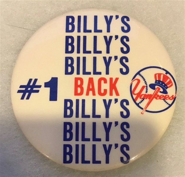 VINTAGE NEW YORK YANKEES BILLY's BACK PIN