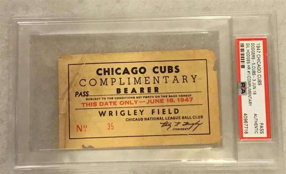 VINTAGE 1947 CHICAGO CUBS PASS vs DODGERS- HODGES 1st CAREER HR w/PSA