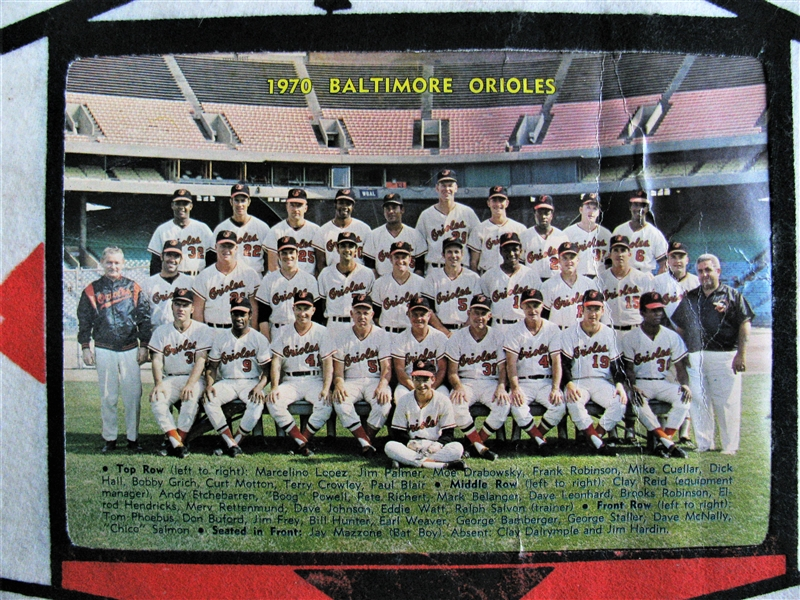 1970 BALTIMORE ORIOLES TEAM PHOTO PENNANT