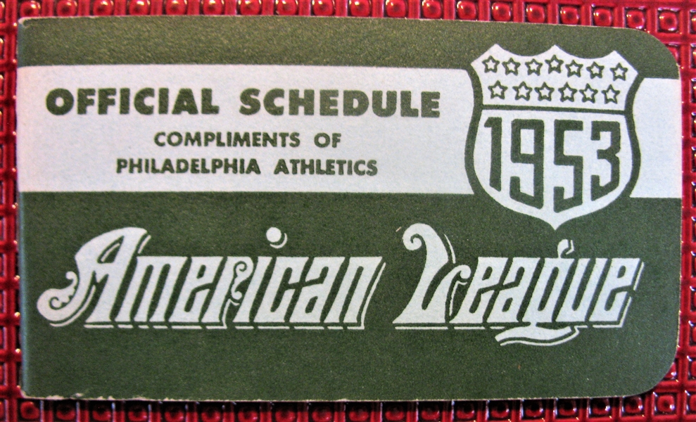 1953 AMERICAN LEAGUE POCKET SCHEDULE- PHILADELPHIA ATHLETIC ISSUE