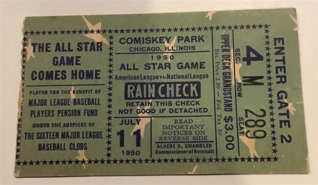 1950 ALL-STAR GAME TICKET STUB @ COMISKEY PARK