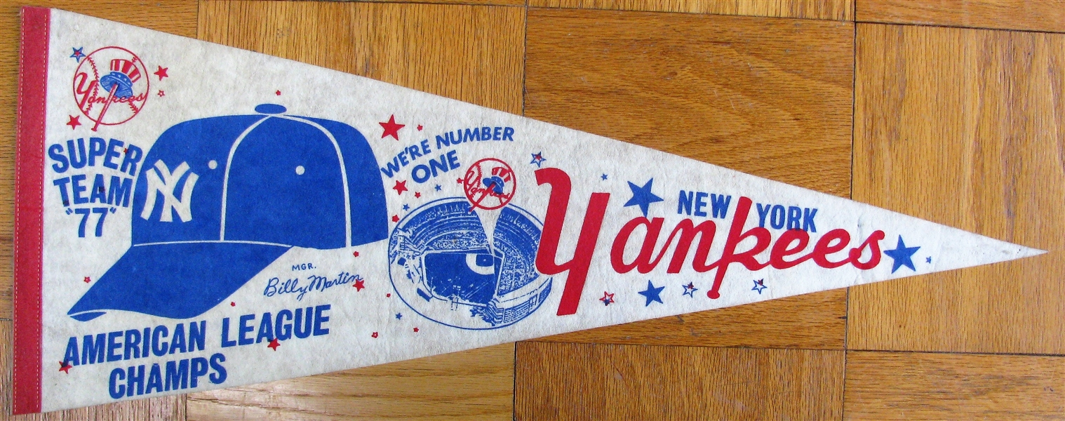 1977 NEW YORK YANKEES AMERICAN LEAGUE CHAMPIONS PENNANT