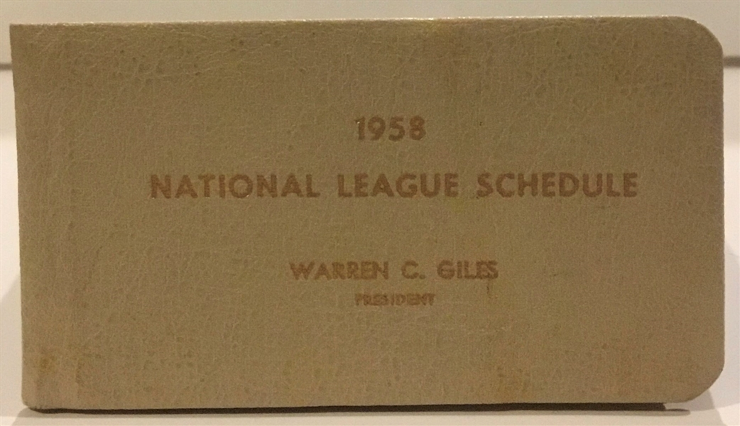 1958 NATIONAL LEAGUE SCHEDULE BOOKLET