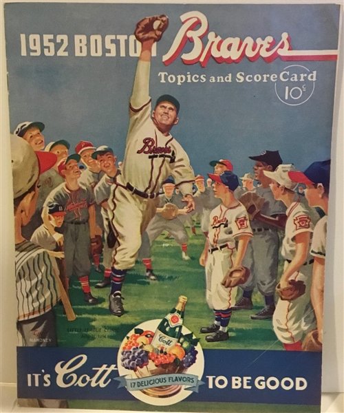 1952 BOSTON BRAVES vs CHI. CUBS PROGRAM - LAST YEAR IN BOSTON