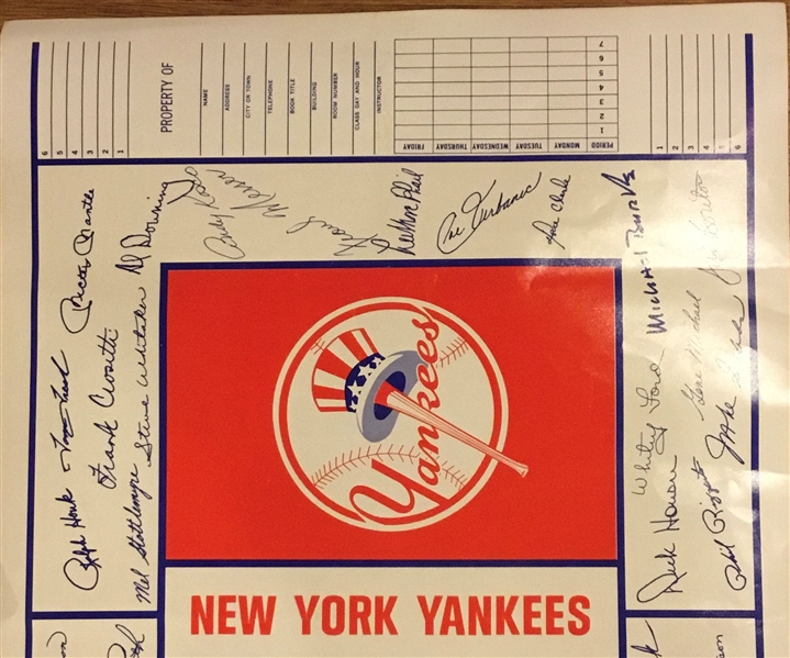 1968 NEW YORK YANKEES BOOK COVER w/TEAM PHOTO- INCLUDES MANTLE